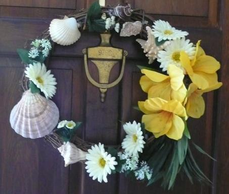 Wreath made by Neil and Ann-Marie Johnson of flowers/shells from the ...